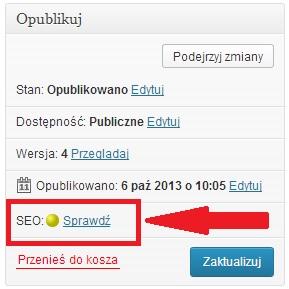 Pozycjonowanie artykułów w wordpress: żółta kropka, sygnalizacja pozycjonowania
