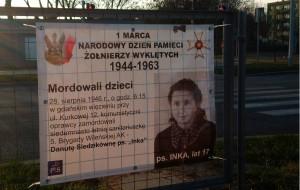 Żołnierze Wyklęci - plakat PiS w Lesznie, zbliżenie