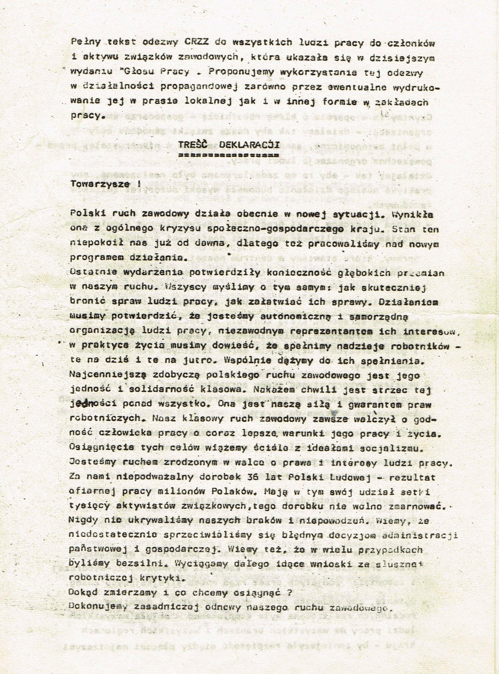 Z Archiwum Solidarności: Deklaracja Centralnej Rady Związków Zawodowych Strona 1
