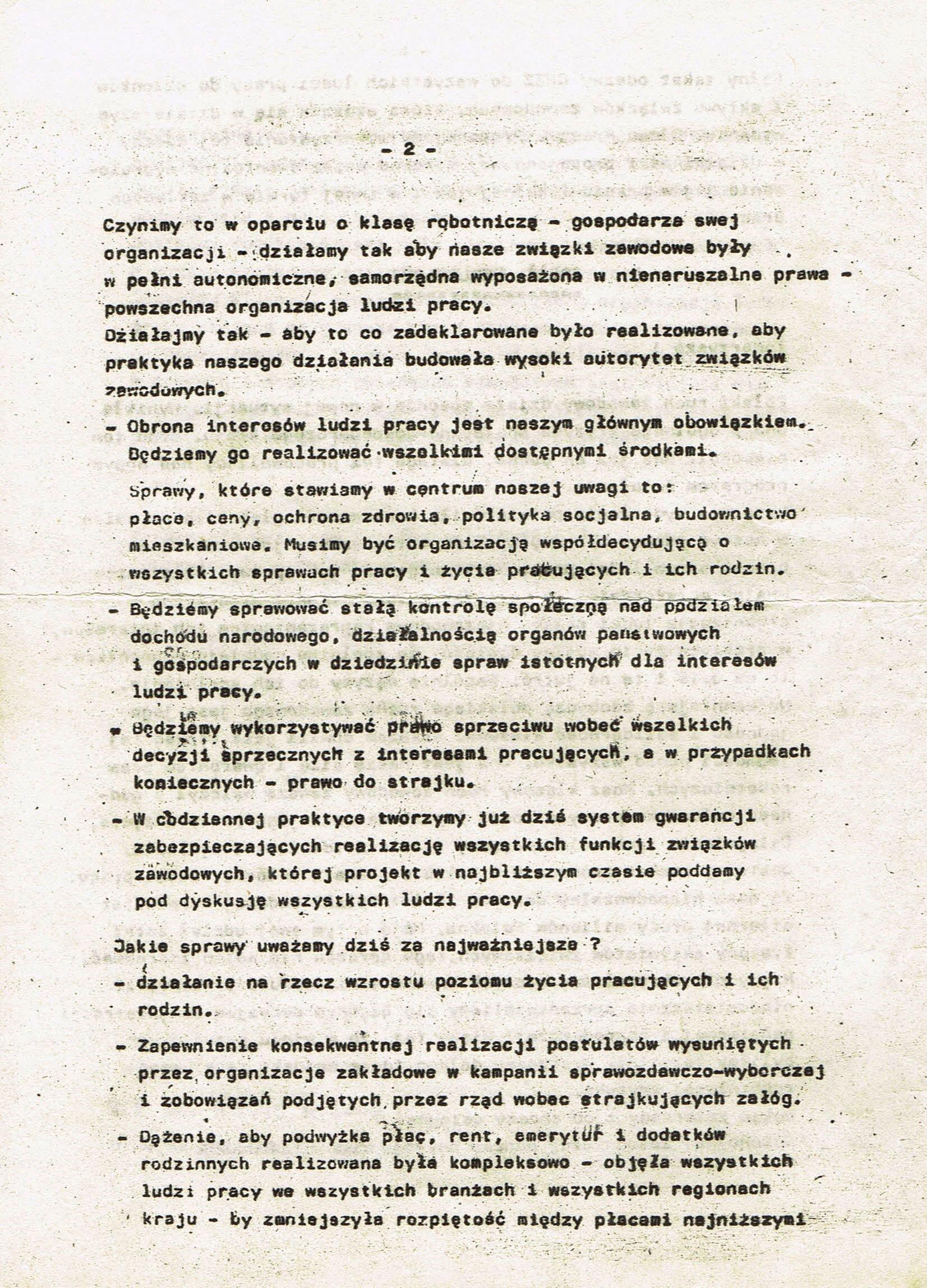 Z Archiwum Solidarności: Deklaracja Centralnej Rady Związków Zawodowych Strona 2