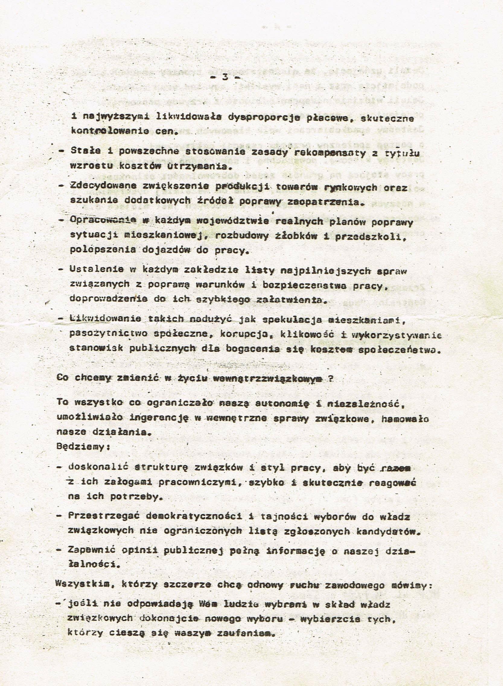 Z Archiwum Solidarności: Deklaracja Centralnej Rady Związków Zawodowych Strona 3