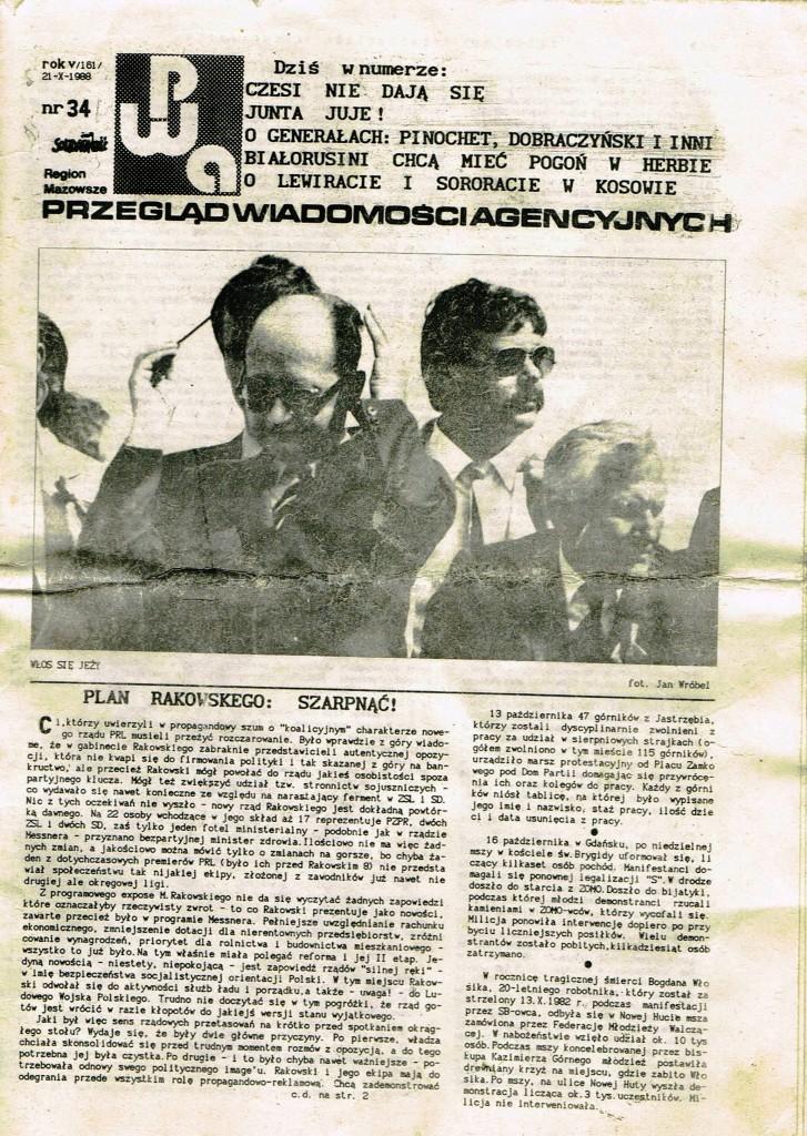 Z Archiwum Solidarności Przegląd Wiadomości Agencyjnych Strona 1