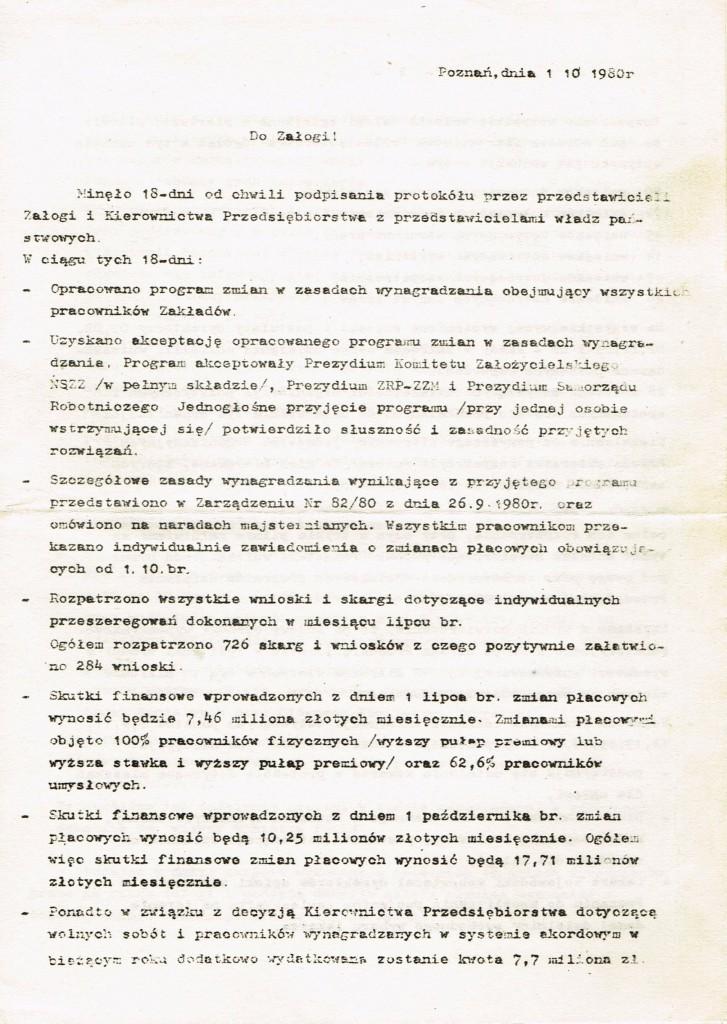 Z Archiwum Solidarności. Odezwa Dyrekcji Zakładów Hipolita Cegielskiego w Poznaniu do Załogi. Poznań 01.10.1980 rok. Strona 1