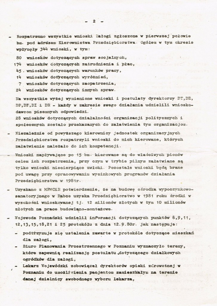 Z Archiwum Solidarności. Odezwa Dyrekcji Zakładów Hipolita Cegielskiego w Poznaniu do Załogi. Poznań 01.10.1980 rok. Strona 2
