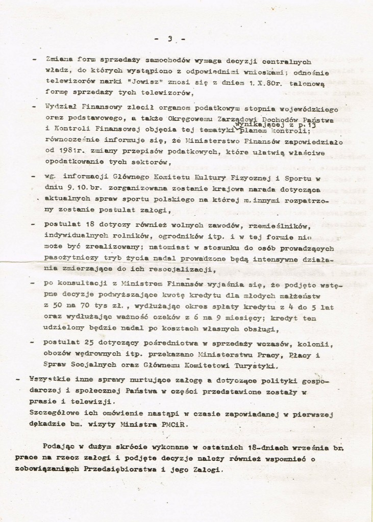 Z Archiwum Solidarności. Odezwa Dyrekcji Zakładów Hipolita Cegielskiego w Poznaniu do Załogi. Poznań 01.10.1980 rok. Strona 3