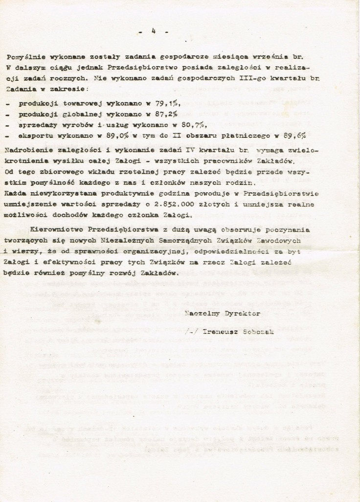 Z Archiwum Solidarności. Odezwa Dyrekcji Zakładów Hipolita Cegielskiego w Poznaniu do Załogi. Poznań 01.10.1980 rok. Strona 4