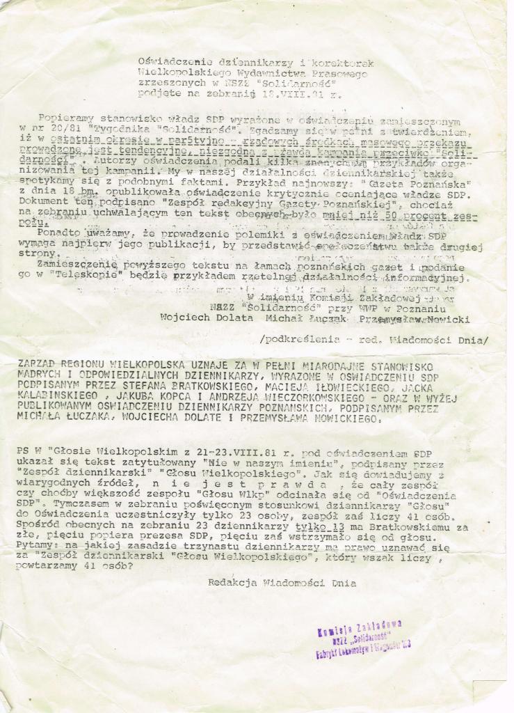 Oświadczenie SDP z roku 1981 roku strona 1